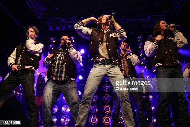 Singers Adam Rupp Rob Lundquist Austin Brown Chris Rupp and Tim Foust of Home Free perform at The SingOff Live Tour at House of Blues Sunset Strip on...