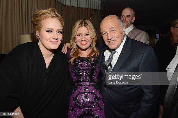 Singers Adele and Kelly Clarkson and Chairman and Chief Executive Officer Sony Music Entertainment Doug Morris attend Sony Music Grammy Reception at...