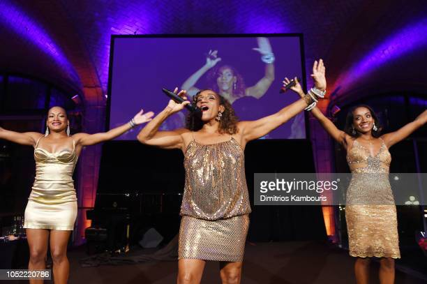 Singers Adrina McCreary Kathy Sledge and Kristen Gabrielle of Sister Sledge perform onstage during the Lung Transplant Project 2018 Fall Gala...