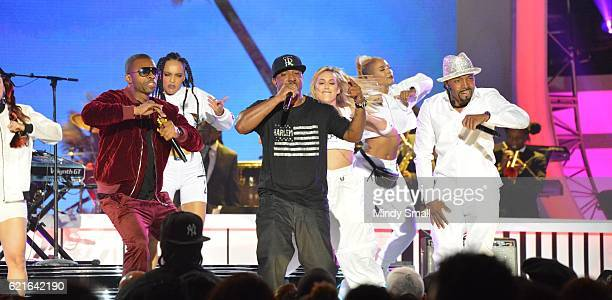 Singers Agil Davidson Markell Riley and Teddy Riley perform onstage during the 2016 Soul Train Music Awards at the Orleans Arena on November 6 2016...