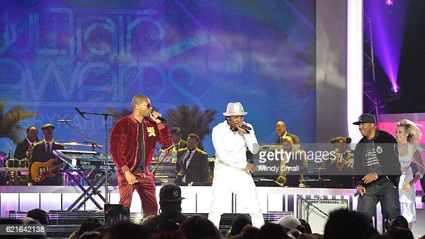 Singers Agil Davidson Teddy Riley and Markell Riley perform onstage during the 2016 Soul Train Music Awards at the Orleans Arena on November 6 2016...