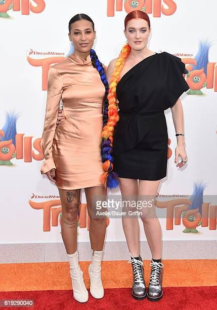 Singers Aino Jawo and Caroline Hjelt of Icona Pop arrive at the Los Angeles premiere of 20th Century Fox's 'Trolls' at Regency Village Theatre on...