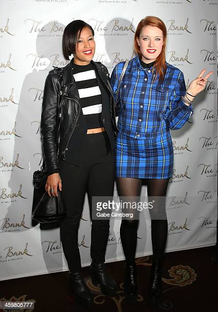 Singers Aino Jawo and Caroline Hjelt of Icona Pop arrive for a concert at The Bank Nightclub at the Bellagio on December 30, 2013 in Las Vegas,...