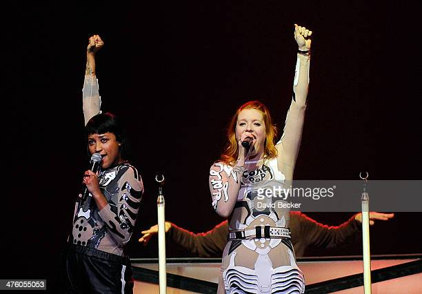 Singers Aino Jawo and Carolne Hjelt of Icona Pop perform as they open for Miley Cyrus during her Bangerz tour at the MGM Grand Garden Arena on March...