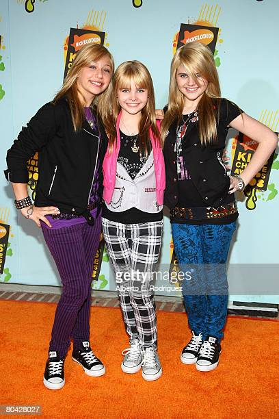 Singers Airel Moore Paris Monroe and Destinee Monroe of the band Clique Girlz arrive at Nickelodeon's 2008 Kids' Choice Awards held at UCLA's Pauley...