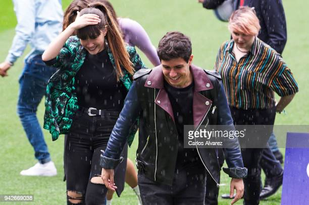 Singers Aitana and Alfred attend the presentation of 'OT Bernabeu Caminando Juntos' concert at the Santiago Bernabeu Stadium on April 6 2018 in...