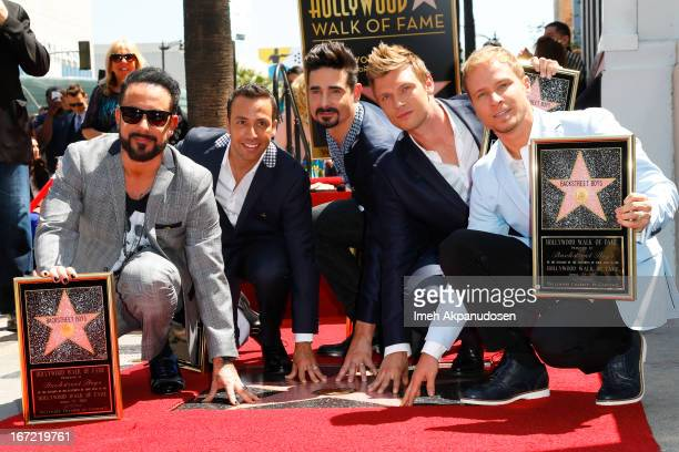 Singers AJ McLean Howie Dorough Kevin Richardson Nick Carter and Brian Littrel of Backstreet Boys attend the ceremony honoring them with a star on...