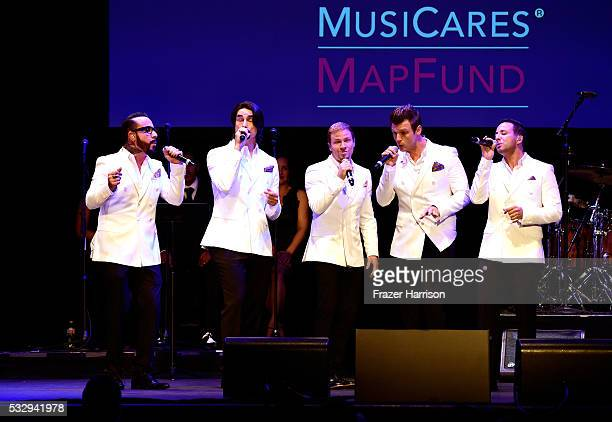 Singers AJ McLean Kevin Richardson Brian Littrell Nick Carter and Howie Dorough of Backstreet Boys perform onstage at the 12th Annual MusiCares MAP...