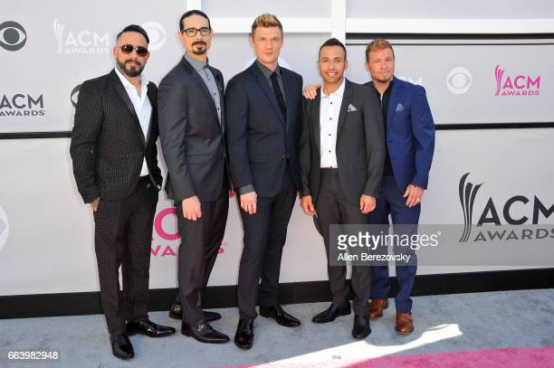 Singers AJ McLean Kevin Richardson Nick Carter Howie Dorough and Brian Littrell of music group Backstreet Boys attend at the 52nd Academy Of Country...