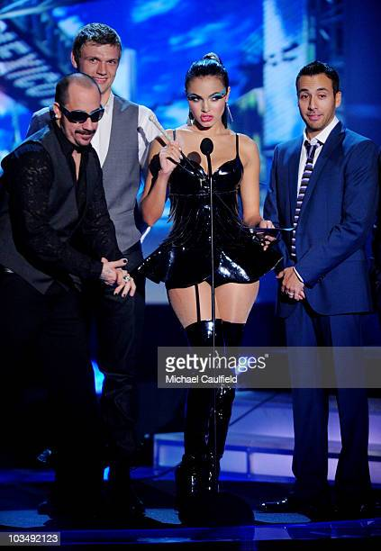 Singers AJ Mclean Nick Carter Howie Dorough and Brian Littrell of the 'Backstreet Boys' and singer Jery Sandoval onstage at the Los Premios MTV 2009...