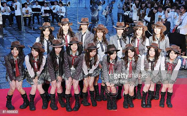 Singers AKB48 attend 'Indiana Jones and the Kingdom of the Crystal Skull' Japan Premiere at the National Yoyogi Gymnasium on June 5 2008 in Tokyo...