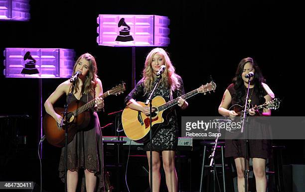 Singers Alaina Stacey Katy Bishop and Kristen Castro of Maybe April perform at 'A Song Is Born' the 16th Annual GRAMMY Foundation Legacy Concert held...