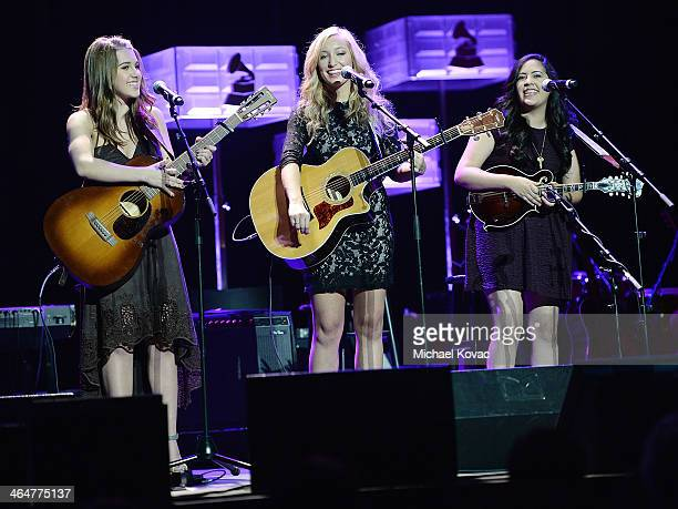 Singers Alaina Stacey Katy Bishop and Kristen Castro of musical group 'Maybe April' perform onstage at the GRAMMY Foundation Legacy Concert on...