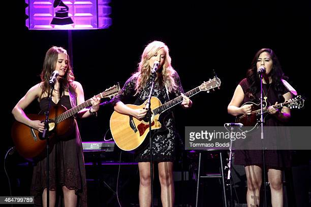 Singers Alaina Stacey Katy Bishop and Kristen Castro of musical group 'Maybe April' perform at the 'A Song Is Born' 16th Annual GRAMMY Foundation...