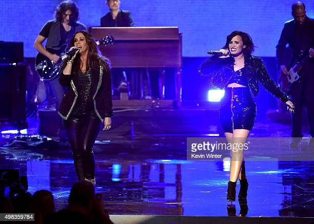 Singers Alanis Morissette and Demi Lovato perform onstage during the 2015 American Music Awards at Microsoft Theater on November 22, 2015 in Los...