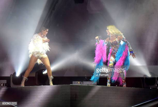 Singers Alejandra Guzman and Gloria Trevi perform at Madison Square Garden on August 12 2017 in New York City