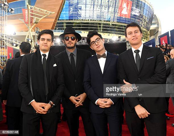 Singers Alejandro Posada Simon Vargas Juan Pablo Villamil and Juan Pablo Isaza of Morat attend The 17th Annual Latin Grammy Awards at TMobile Arena...