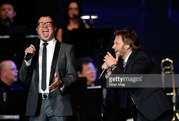 Singers Aleks Syntek and Noel Schajris perform onstage during the 2010 Person of the Year honoring Placido Domingo at the Mandalay Bay Events Center...
