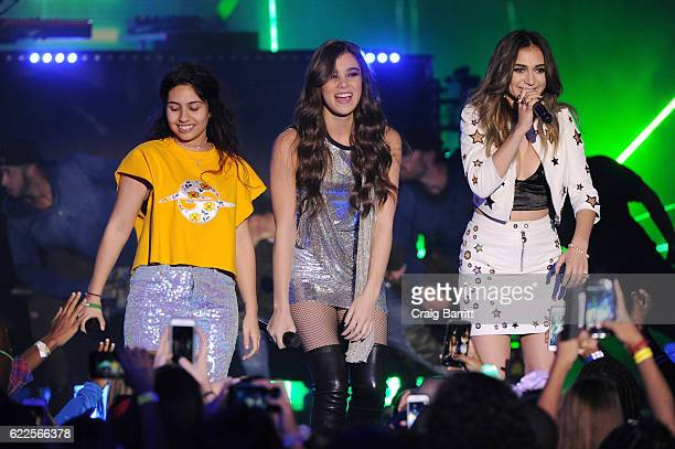 Singers Alessia Cara Hailee Steinfeld and Daya perform onstage during the 2016 Nickelodeon HALO Awards at Basketball City Pier 36 South Street on...
