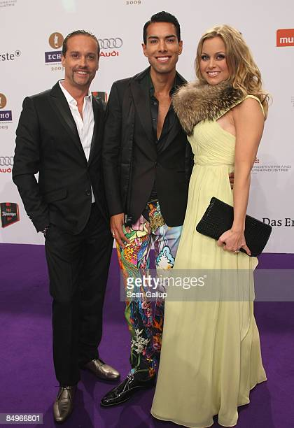 Singers Alex Christensen and Oscar Loya and Christensen's wife Nicci Juice attend the 2009 Echo Music Awards at the O2 Arena on February 21 2009 in...