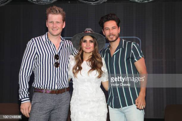 Singers Alexander Acha, Dulce Maria and Juan Solo attend the Billboard Latin Music Showcase press conference at Foro 1869 on July 18, 2018 in Mexico...