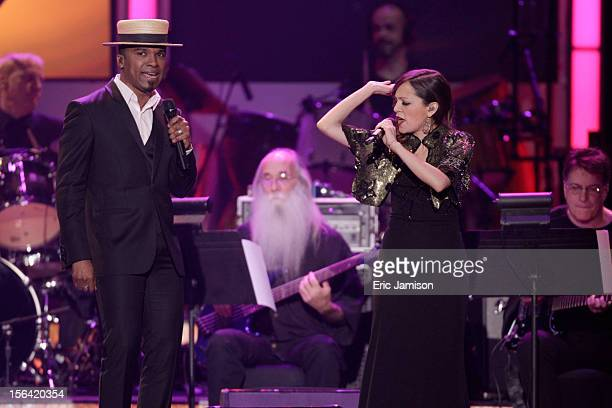 Singers Alexandre Pires and Natalia Lafourcade perform onstage during the 2012 Latin Recording Academy Person Of The Year honoring Caetano Veloso at...