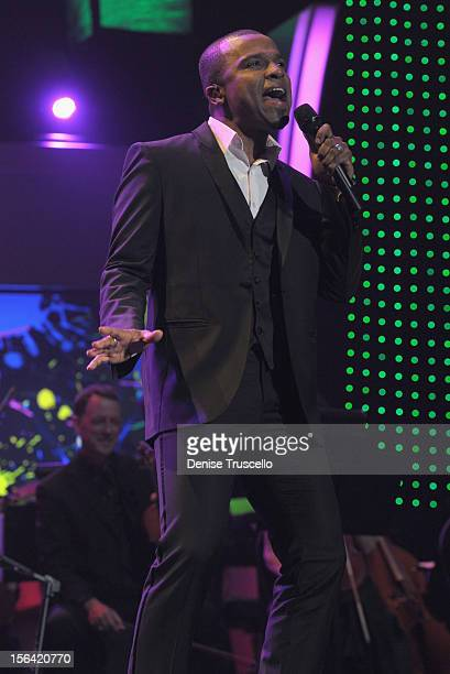 Singers Alexandre Pires performs during the 2012 Person of the Year honoring Caetano Veloso at the MGM Grand Garden Arena on November 14 2012 in Las...