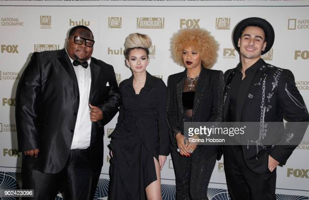 Singers Alexis Boyd Ash Minor and fellow contestants of 'The Four' attend FOX FX and Hulu 2018 Golden Globe Awards After Party at The Beverly Hilton...