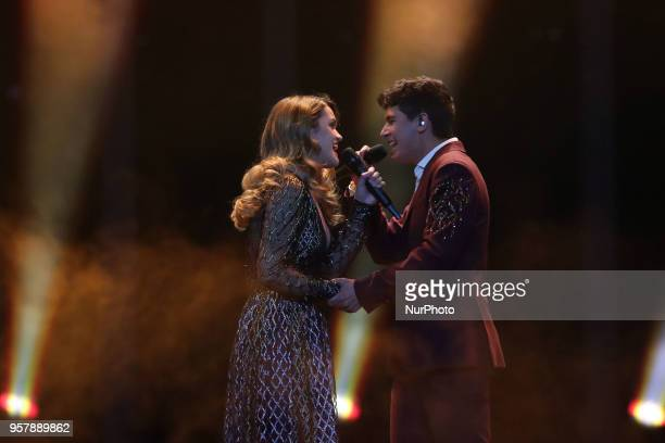 Singers Alfred y Amaia of Spain perform during the 2018 Eurovision Song Contest Grand Final at the Altice Arena in Lisbon Portugal on May 12 2018
