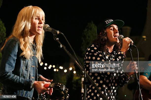 Singers Alice Katz and Sam Martin of the band Youngblood Hawke perform onstage at the 987FM Penthouse Party at The Historic Hollywood Tower on...