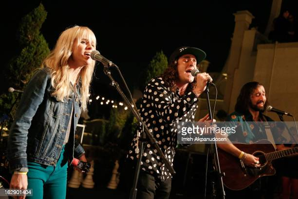 Singers Alice Katz Sam Martin and musician Simon Katz of the band Youngblood Hawke perform onstage at the 987FM Penthouse Party at The Historic...