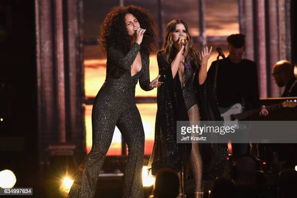 Singers Alicia Keys and Maren Morris perform onstage during The 59th GRAMMY Awards at STAPLES Center on February 12, 2017 in Los Angeles, California.