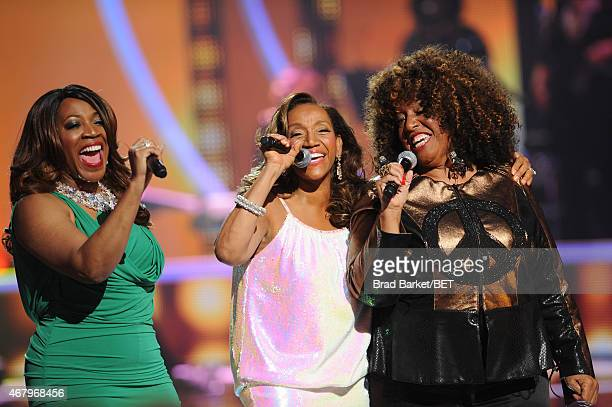 Singers Alicia Myers Kathy Sledge and Cheryl Lynn perform on 'Black Girls Rock' BET Special at NJPAC – Prudential Hall on March 28 2015 in Newark New...