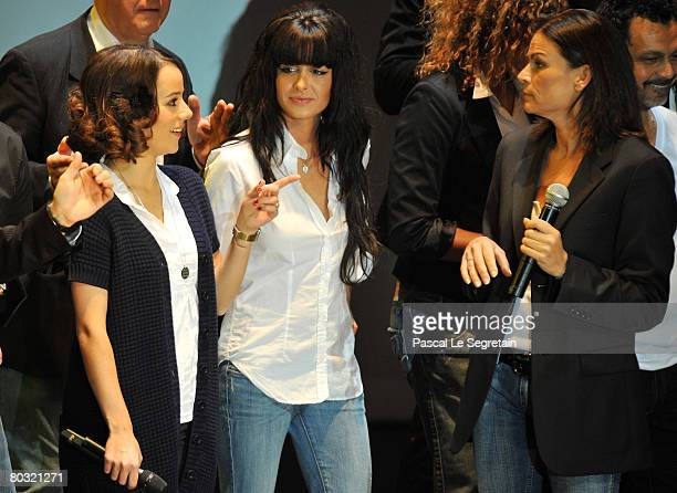 Singers AlizeeJenifer and Princess Stephanie of Monaco perform on stage during the Fight Aids Monaco Gala on March 20 2008 in Monaco