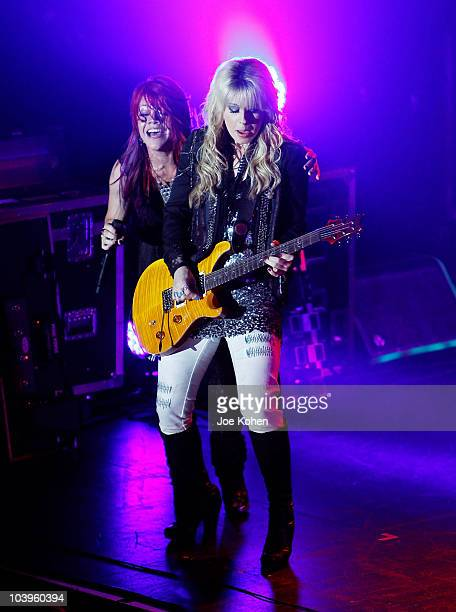 Singers Allison Iraheta and Orianthi performs at the Nokia Theatre on June 22, 2010 in New York City.