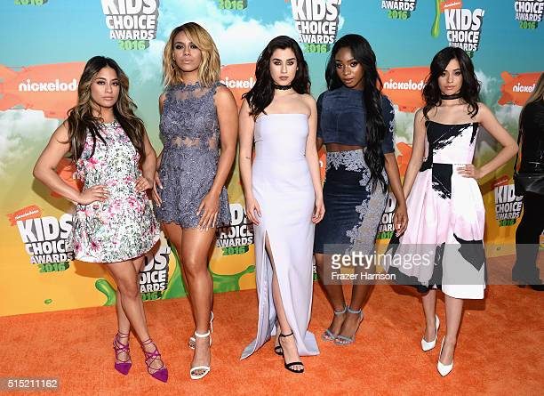 Singers Ally Brooke Dinah Jane Lauren Jauregui Normani Kordei and Camila Cabello of Fifth Harmony attends Nickelodeon's 2016 Kids' Choice Awards at...
