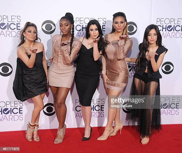 Singers Ally Brooke Hernandez, Normani Hamilton, Lauren Jauregui, Dinah Jane Hansen and Camila Cabello of Fifth Harmony arrive at The 41st Annual...