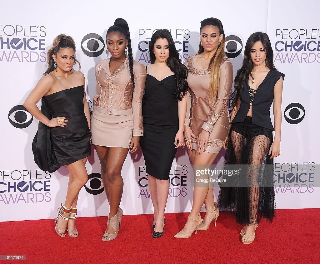 Singers Ally Brooke Hernandez, Normani Hamilton, Lauren Jauregui, Dinah Jane Hansen and Camila Cabello of Fifth Harmony arrive at The 41st Annual People's Choice Awards at Nokia Theatre LA Live on January 7, 2015 in Los Angeles, California.