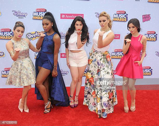 Singers Ally Brooke Hernandez, Normani Kordei, Dinah Jane Hansen, Camila Cabello, and Lauren Jauregui of Fifth Harmony arrive at the 2015 Radio...