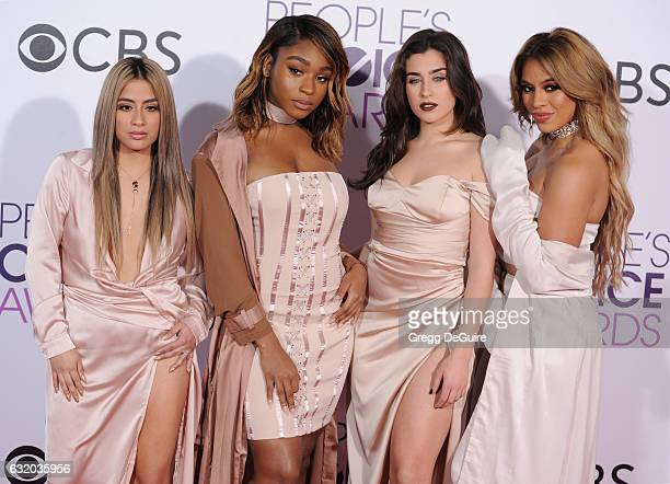 Singers Ally Brooke, Normani Hamilton, Dinah Jane Hansen and Lauren Jauregui of Fifth Harmony arrive at the 2017 People's Choice Awards at Microsoft...