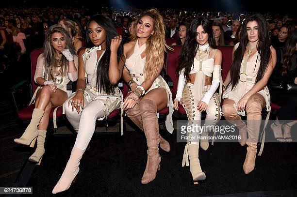 Singers Ally Brooke Normani Hamilton Dinah Jane Hansen Lauren Jauregui and Camila Cabello of Fifth Harmony pose during the 2016 American Music Awards...