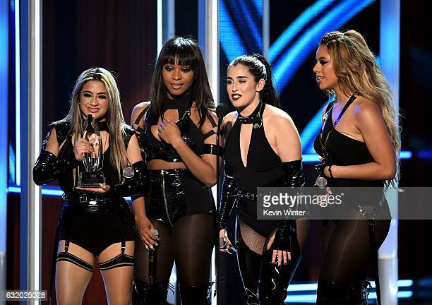 Singers Ally Brooke Normani Kordei Lauren Jauregui and Dinah Jane of Fifth Harmony accept Favorite Group onstage during the People's Choice Awards...