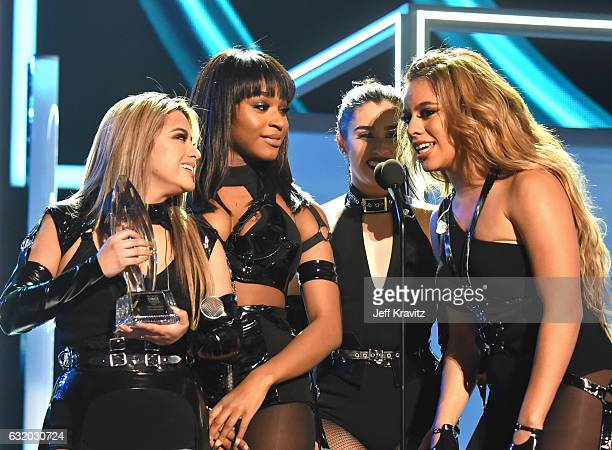 Singers Ally Brooke Normani Kordei Lauren Jauregui and Dinah Jane of Fifth Harmony perform onstage during the People's Choice Awards 2017 at...