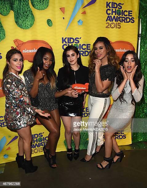 Singers Ally Brooke Normani Kordei Lauren Jauregui DinahJane Hansen and Camila Cabello of Fifth Harmony winners of Favorite New Artist attend...