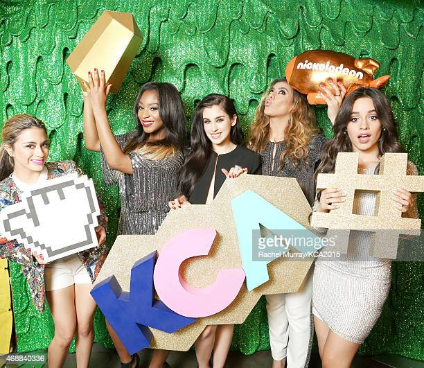 Singers Ally Brooke Normani Kordei Lauren Jauregui DinahJane Hansen and Camila Cabello of Fifth Harmony pose backstage at Nickelodeon's 28th Annual...