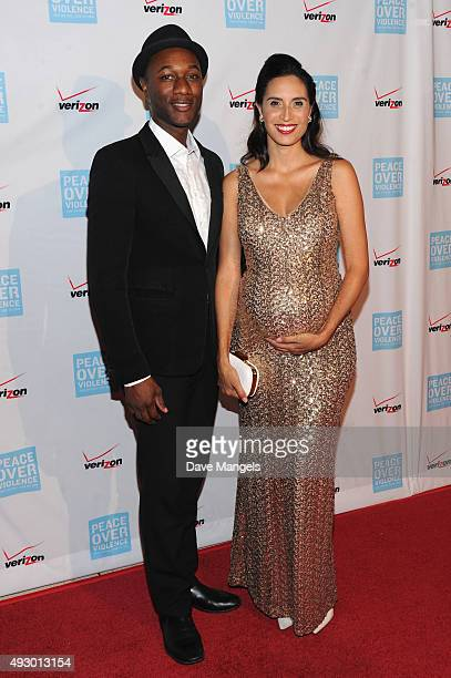 Singers Aloe Blacc and Maya Jupiter attend the 44th annual Peace Over Violence Humanitarian Awards at Dorothy Chandler Pavilion on October 16 2015 in...