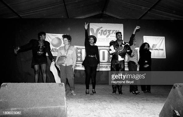 Singers Alyson Williams, Stacy Lattisaw, Lisa Frazier of Shades of Lace, Michael Cooper, Vivian Ross and Kathy Merrick of Shades Of Lace bids...