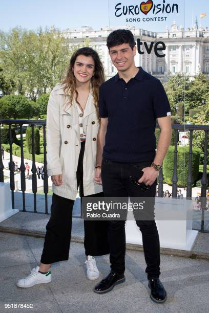 Singers Amaia and Alfred attend a photocall before Eurovision 2018 at 'Teatro Real' on April 27 2018 in Madrid Spain