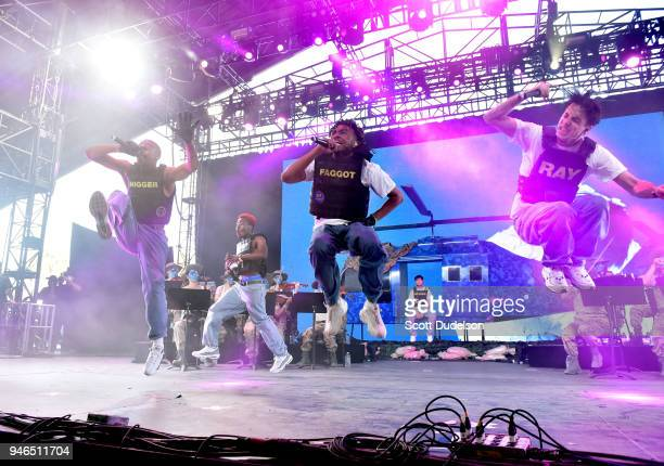 Singers Ameer Vann Kevin Abstract and Matt Champion of the BROCKHAMPTON collective perform on the Mojave stage during week 1 day 2 of the Coachella...