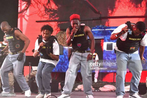 Singers Ameer Vann Kevin Abstract Merlyn Wood and Dom McLennon of the BROCKHAMPTON collective perform on the Mojave stage during week 1 day 2 of the...